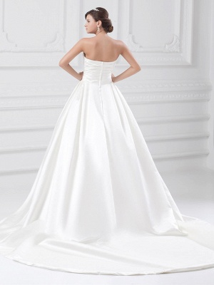 Plus Size Ball Gown Wedding Dress Strapless Satin Strapless Bridal Gowns with Court Train_4