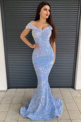 Shinning Sequins Mermaid Prom Dress Off-the-shoulder Long Evening Gowns