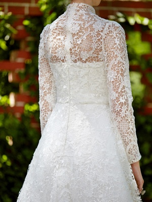 Illusion A-Line Wedding Dress Floral Lace Long Sleeve Bridal Gowns Court Train_12