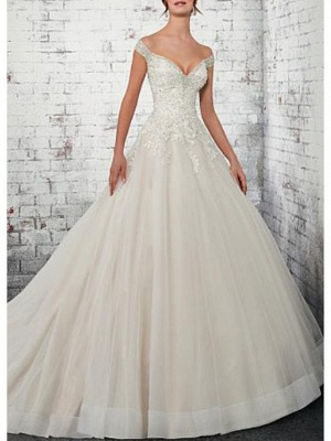 A-Line Wedding Dress Off Shoulder Lace Tulle Cap Sleeve Bridal Gowns Court Train