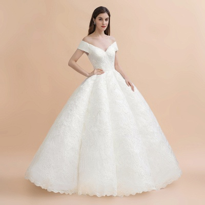 Luxury Ball Gown Off-the-Shoulder Sweetheart Wedding Dress | Sleeveless Lace Satin Bridal Gowns_7