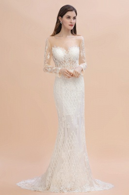 Gorgeous Jewel Tulle Lace Wedding Dress   Long Sleeves Appliques Mermaid Bridal Gowns_5