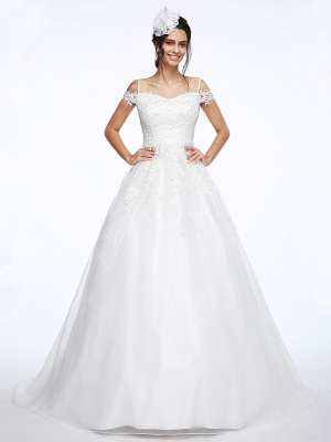Ball Gown Wedding Dress Off Shoulder Organza Beaded Lace Short Sleeve Bridal Gowns with Court Train