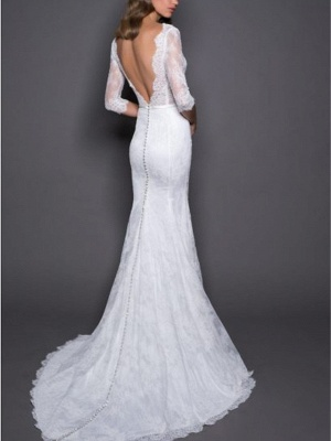 Mermaid Wedding Dress V-Neck Lace Satin 3/4 Length Sleeves Plus Size Bridal Gowns with Sweep Train_2