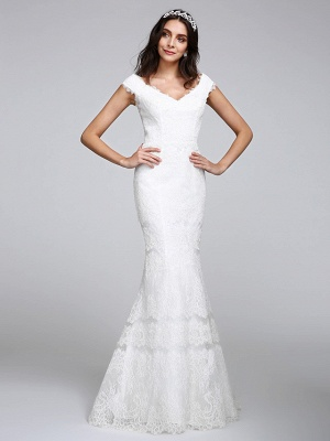 Romantic Mermaid Wedding Dress V-neck All Over Lace Cap Sleeve Sexy Backless Bridal Gowns Illusion Detail_3