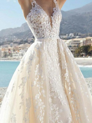 Sexy A-Line Wedding Dresses V-Neck Lace Tulle Sleeveless Bridal Gowns Formal See-Through Court Train_3