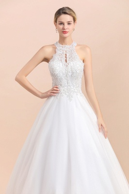Exquisite High-Neck Lace Wedding Dress | Appliques Sequins Sleeveless Bridal Gowns_9