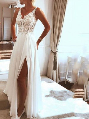 Beach Boho A-Line Wedding Dress V-Neck Spaghetti Strap Lace Chiffon Sexy Bridal Gowns Sweep Train