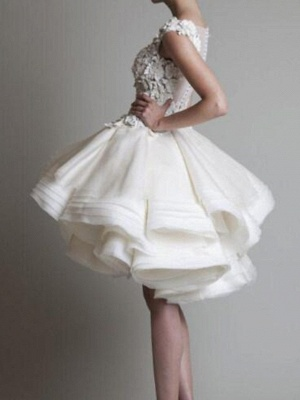Asymmetrical A-Line Wedding Dress Jewel Sleeveless Country Plus Size Bridal Gowns On Sale_2