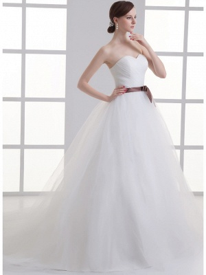 Sexy A-Line Wedding Dress Sweetheart Lace Satin Tulle Strapless Bridal Gowns with Court Train_2