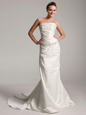 Affordable Sheath Strapless Wedding Dress Satin Sleeveless Bridal Gowns with Court Train