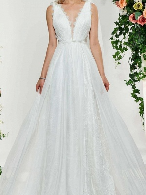Sexy Backless A-Line V-neck Wedding Dress Lace Tulle Sleeveless Bridal Gowns with Sweep Train_3