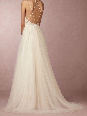 Simple Plus Size A-Line Wedding Dress V-Neck Lace Tulle Spaghetti Strap Bridal Gowns Sweep Train_3