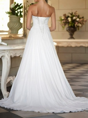 Formal A-Line Wedding Dress Strapless Tulle Strapless Plus Size Bridal Gowns Sweep Train_2