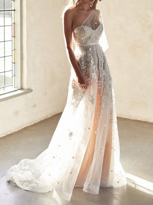 Sexy A-Line Wedding Dresses Sweetheart Lace Sleeveless Bridal Gowns Wedding Dress in Color See-Through Court Train_1