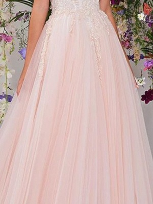 Country A-Line Wedding Dress Strapless Lace Tulle Sleeveless Bridal Gowns Wedding Dress in Color_3