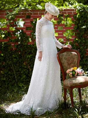 Illusion A-Line Wedding Dress Floral Lace Long Sleeve Bridal Gowns Court Train_7