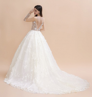 Luxury Ball Gown Tulle Lace Wedding Dress | Long Sleeves Appliques Pearls Bridal Gowns with Flowers_8