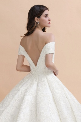 Luxury Ball Gown Lace Satin Sweetheart Wedding Dress | Sleeveless Bridal Gowns with V-Back_10