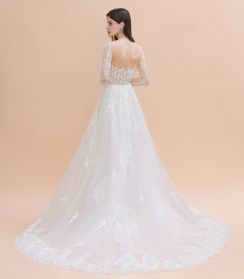 Gorgeous Jewel Tulle Lace Wedding Dress   Long Sleeves Appliques Mermaid Bridal Gowns_9