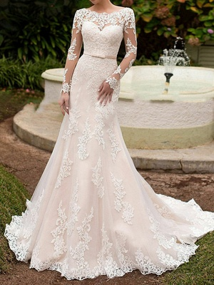 Elegant Mermaid Wedding Dresses Bateau Lace Long Sleeve Boho Bridal Gowns with Sweep Train
