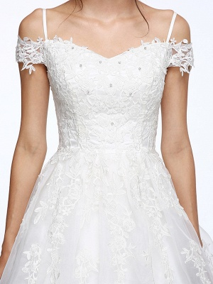 Ball Gown Wedding Dress Off Shoulder Organza Beaded Lace Short Sleeve Bridal Gowns with Court Train_9