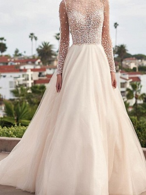 A-Line Wedding Dresses Jewel Tulle Long Sleeve Bridal Gowns Country Plus Size Sweep Train_1
