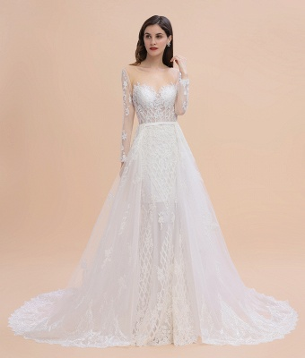 Gorgeous Jewel Tulle Lace Wedding Dress   Long Sleeves Appliques Mermaid Bridal Gowns_8