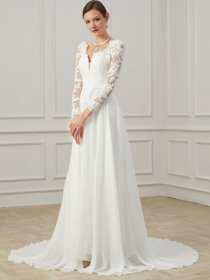 Formal Sheath Wedding Dress V-Neck Lace Tulle Long Sleeves Plus Size Bridal Gowns with Sweep Train_4