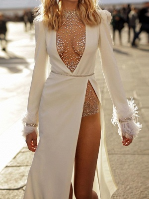 Sexy Plus Size Two Piece Wedding Dress High-Neck Long Sleeves Bridal Gowns_2