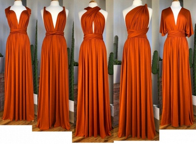 Sexy Organge Sleeveless Convertible Bridesmaid Dress with Rullfes Online_8