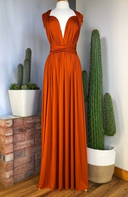Sexy Organge Sleeveless Convertible Bridesmaid Dress with Rullfes Online_3