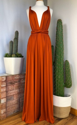 Sexy Organge Sleeveless Convertible Bridesmaid Dress with Rullfes Online_2
