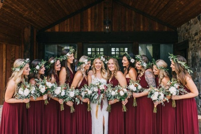 Affordable Burgundy Chiffon Sleeveless Convertible Bridesmaid Dress with Rullfes On Sale_3