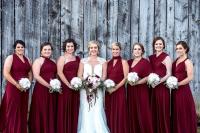 Affordable Burgundy Chiffon Sleeveless Convertible Bridesmaid Dress with Rullfes On Sale_5