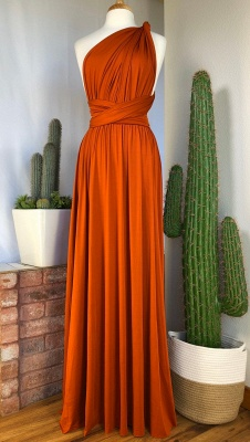 Sexy Organge Sleeveless Convertible Bridesmaid Dress with Rullfes Online_6
