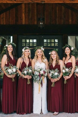 Affordable Burgundy Chiffon Sleeveless Convertible Bridesmaid Dress with Rullfes On Sale