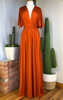 Sexy Organge Sleeveless Convertible Bridesmaid Dress with Rullfes Online_4