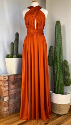 Sexy Organge Sleeveless Convertible Bridesmaid Dress with Rullfes Online_5