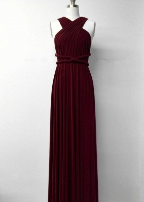 Affordable Burgundy Chiffon Sleeveless Convertible Bridesmaid Dress with Rullfes On Sale_4