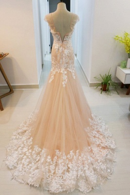 Luxury High Neck Rose Gold Prom Dress With Lace Appliques_2