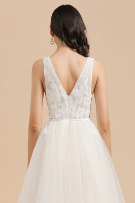 Simple Ivory V-Neck Tulle Lace Wedding Dress | Appliques Garden Bridal Gowns_8