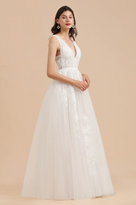 Simple Ivory V-Neck Tulle Lace Wedding Dress | Appliques Garden Bridal Gowns_4