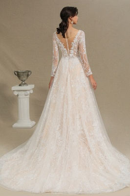Chic A-line Tulle Lace Wedding Dress | Long Sleeves Ivory Bridal Gowns_4