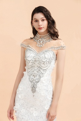 Luxury Mermaid Wedding Dress | Tulle Lace Sequins Sleeveless Bridal Gowns with Pearls_7