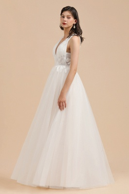 Simple Ivory V-Neck Tulle Lace Wedding Dress | Appliques Garden Bridal Gowns_5
