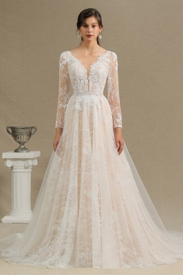 Chic A-line Tulle Lace Wedding Dress | Long Sleeves Ivory Bridal Gowns_3