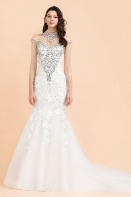 Luxury Mermaid Wedding Dress | Tulle Lace Sequins Sleeveless Bridal Gowns with Pearls_3