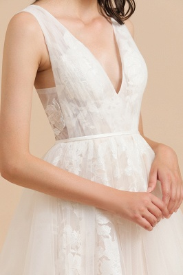 Simple Ivory V-Neck Tulle Lace Wedding Dress | Appliques Garden Bridal Gowns_7