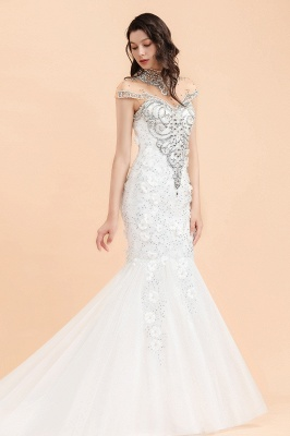 Luxury Mermaid Wedding Dress | Tulle Lace Sequins Sleeveless Bridal Gowns with Pearls_5